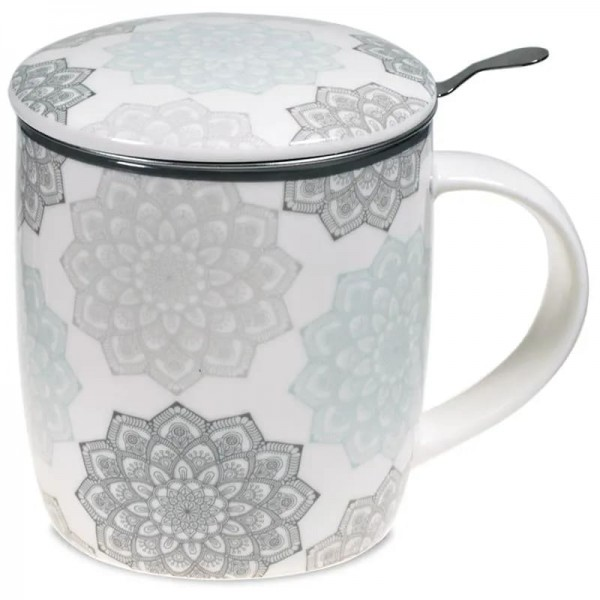 Set Teetasse Mandala grau -- 400 ml
